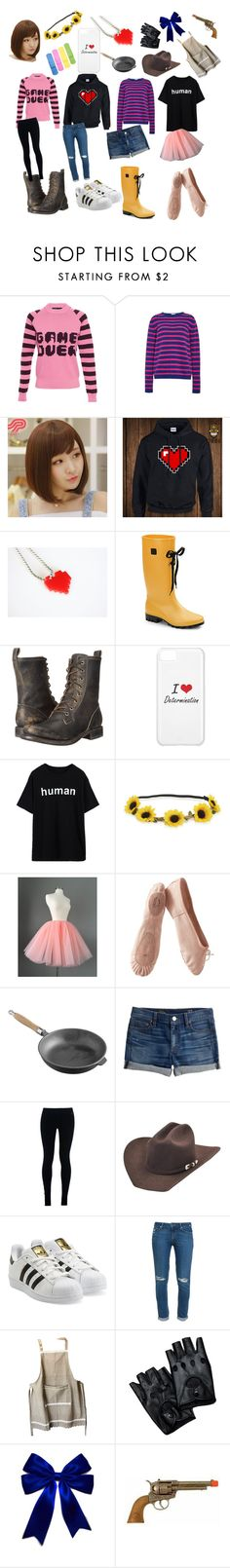 """Undertale: Frisk"" by cartoonvillian ❤ liked on Polyvore featuring American Retro, Stella Jean, Pin Show, Däv, Frye, Aéropostale, Porselli, Viners, J.Crew and NIKE"