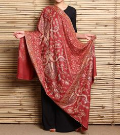 Onion Pink Hand Embroidered Pashmina Shawl