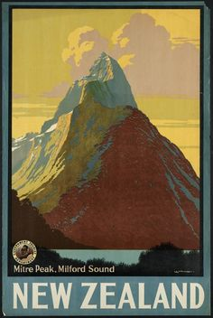 Items similar to Vintage New Zealand Travel Poster - Mitre Peak Milford Sound Print - Retro Home Office Wall Decor - 7 Print Sizes on Etsy Old Poster, Retro Poster, Retro Print, Poster Poster, Poster Wall, Vintage Advertisements, Vintage Ads, Tourism Poster, Travel Ads