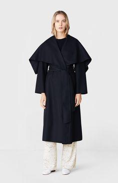 Blanket Wrap Coat in Black