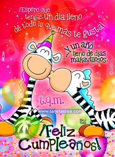Días maravillosos - Tarjeta de cumpleaños-zebras Ele y Gala celebrando cumpleaños© ZEA www.tarjetaszea.com