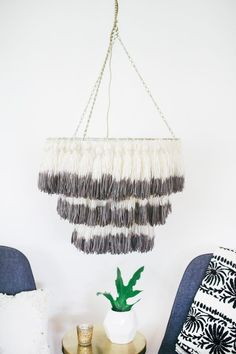 DIY Dip-dyed tassel chandelier hanging from ceiling. SO CUUUTE