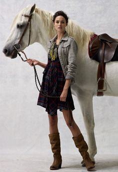 tartan, grey, slouchy boots.
