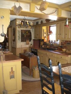 This almost exactly looks like my kitchen's layout!  And I was thinking of storage there on the left wall...and a small island in the center...and the table where the one is in the photo....AWESOME! Note: you have to join a website to see a closer view