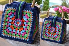 Crea Una Hermosa Bolsa Colorida A Crochet Con Granny | Tutoriales Y Moldes