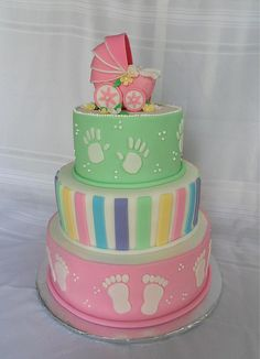 #Baby #Shower #Cake With #Pram #Topper alternate colour tiers with #Stripes and colours, baby feet and hand prints! So cute! We love and had to share! Great #CakeDecorating!