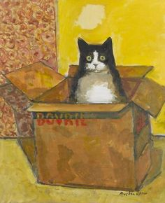 Ruskin Spear RA - Cat in a Bovril box Don't forget to come and see us at http://bakedcomfortfood.com!