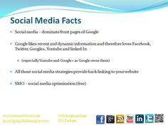 Social media – dominate front pages of Google. All those social media strategies provide back linking to your website. Google likes recent and dynamic information and therefore loves Facebook, Twitter, Google+, Youtube and linked In. (Social Media Pa GET YOUR SOCIAL MEDIA MARKETING PLAN FROM   http://www.itop-seo.com  support@itop-seo.com