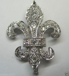 Antique Fleur De Lis Diamond Pin Platinum Filigree Art Deco Vintage Estate FINE Jewelry CIRCA ~ 1930's.