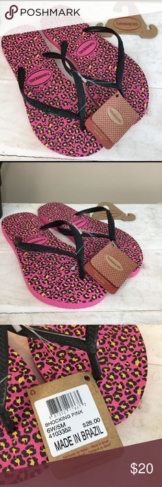 HAVAIANAS Slim Flip Flops Sz 6 W NWT HAVAIANAS Slim Flip Flops New With Tags $28 Retail Women's SZ 6 W EUR 37/38  Black Top Straps Shocking Pink Bottom with Leopard Print  The best-selling Slim Animals features an exotic print on the signature textured footbed for style and comfort. A sleek strap with a tonal Havaianas logo finishes the fierce, on-trend look. Havaianas Shoes Sandals