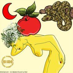 Artwork >> Abelard Ouvert La Nuit >> Eve and her burden #artwork, #girl, #apple, #snake, #moon, #red, #masterpiece, #eve