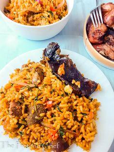 Banga Jollof Rice - The Pretend Chef Chef Recipes, Food Network Recipes, Jellof Rice, Nigerian Food, Island Food, Fusion Food, Rice Dishes, Pinterest Recipes, Fried Rice