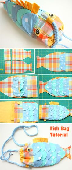Fish Bag Tutorial   http://www.handmadiya.com/2015/10/fish-bag-tutorial.html