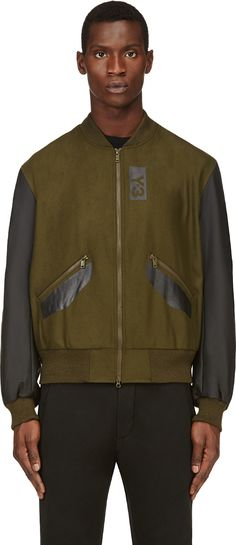 Y-3 - Olive Coated Shadow Bomber Jacket | SSENSE
