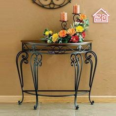 Continental Foyer console table, wrought iron semi-circle wall desk the desk leisure desk table