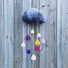 Is this the most darling mobile you've ever seen or what!? LOVE it! Created by Anna Thomas #pompom #craft #clouds #nurserymobile
