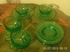 Green Depression glass - six cups and saucers, block optic design