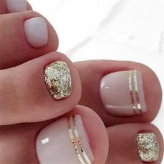 20 trendy winter nail colors & design ideas for 2019 – thetrendspotter – ★ nail art – nails design – Gold Toe Nails, Beach Toe Nails, Pretty Toe Nails, Summer Toe Nails, Cute Toe Nails, Diy Nails, Pretty Toes, Gold Nail, Acrylic Nails