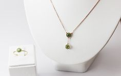 $765 Ring and necklace set , rose gold, tsavorita and peridoto #gold #ring #goldring #necklace #goldnecklace #jewelry
