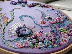 I ❤ beadwork & embroidery . . . Next up is an experimental piece that I have been working on occasionally . . . as  the mood takes me.  I so love this hobby . . . It has kept me sane for years ! I think that I have used every conceivable stitch in my knowledge, on this little beauty from under the sea. I hope that I have provided enough 'eye' candy for you this week. ~By Chris Richards, Ella's Craft Creations