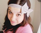 Stripe head wrap - tan and cream - thin stretch headband with bow