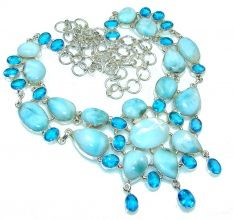 Beautiful!! Light Blue Larimar Sterling Silver necklace