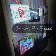 DIY: Canvas 'Pin' Board | Simply2B.com #diy #simply2b Diy Canvas, Canvas Ideas, Boards, Neon Signs, Crafty, Creative, Blog, Design, Planks