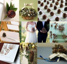 The perfect winter wedding detail. {Snippet & Ink board photo credits top row from left: boutonniere from InStyle Weddings, basket of pine cones from Martha Stewart, seating cards photo by Carol Masica. Chic Wedding, Wedding Trends, Wedding Details, Dream Wedding, Wedding Ideas, Fall Wedding, Wedding Stuff, Reception Table, Wedding Reception Decorations