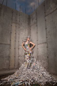 Custom Couture Avant Garde Newspaper Gown Photoshoot Photography prop prom wedding formal gown $1299