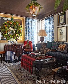 Designer Scot Meacham Wood's cozy living room pays homage to his love of all things tartan. - Photo: John Merkl / Design: Scot Meacham Wood