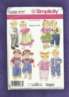 Simplicity 4268 Baby Doll Clothes Pattern for 15 inch Dolls UNCUT