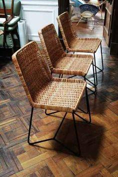 sillas de diseño de mimbre y hierro