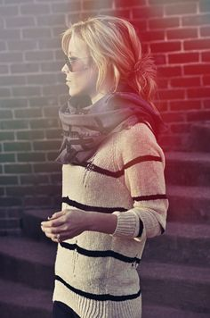 Striped sweater and scarf.
