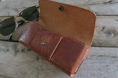 Personalized Horween Leather Glasses Case Sun Glasses by TQleather