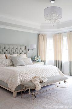 Luxe, Feminine Decor and Furniture Heighten this Soft Grey Bedroom