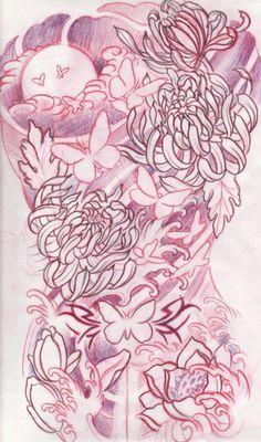 full back tattoo sketch flowers sky water