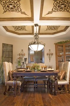 Coffered Ceiling painted and woodgrained with Modern Masters Metallic Paints by California artist Nichole Blackburn | Scrollwork Pattern Design: Modello Stencils | Modern Mastery Blog Feature