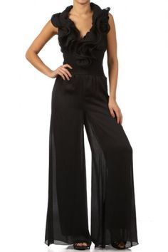 100 percent Polyester 1S/1M/1L Per Pack Black (shown) This HIGH QUALITY jumper is VERY CUTE!! Made from a silky smooth and comfy fabric, this wide leg sheer jumpsuit with a ruffled V- halterneck, and attached lining is hand washable, and fits true to size.