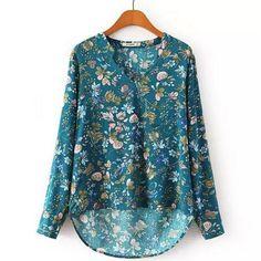 Women's Pretty Loose Floral V-Neck Vintage Casual Top S-XL 2 Colors