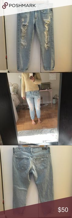 """AG 'the Piper Crop' slouchy slim crop - sz 27 Adorable destroyed boyfriend jeans. Light wash. Never been worn, I bought at a sample sale, very good, I was picturing these for the end of the summer beginning of fall. Inseam is 24.5 """". Any other questions let me know! 🛍🎉💕🤓 AG Adriano Goldschmied Pants Ankle & Cropped"""