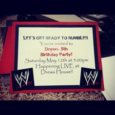 WWE Birthday Party invite.