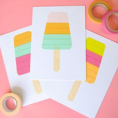 Washi Tape Popsicles! Would be awesome as greeting cards or a set of matching cards for kids!