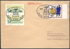 Germany, ATM 29.04.1990, Bund, Automatenmarken, ATM-Zusammendruck (60+10 Pfg.) mit Beifrankatur auf portogerechtem Doppelbrief von Aachen nach Frankfurt. Price Estimate (8/2016): 15 EUR.