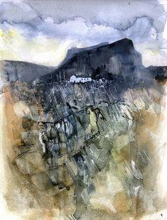 Black crags- Paul Bailey, watercolour on gesso primed board