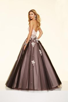 Size 2 Blush-Black Mori Lee Paparazzi 98018 Tulle Ball Gown with Lace- BACK VIEW