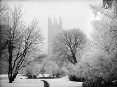 Magdalen College, Oxford, Oxfordshire in the Snow Photographic Print by Henry Taunt at AllPosters.com