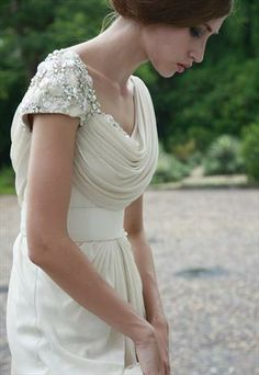 Vintage Ivory Cowl Wedding Dress  Beautiful dress!! I wish I had known about this designer for my wedding..