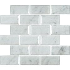 "Arabescato Carrara Greecian Mounted 2"" x 4"" Marble Mosaic Tile in White. Wayfair"