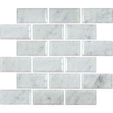 "Arabescato Carrara Greecian Mounted 2"" x 4"" Marble Mosaic Tile in White. Wayfair"