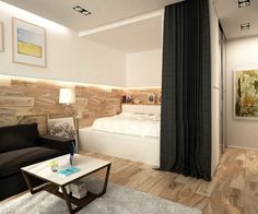 2 Simple, Super Beautiful Studio Apartment Concepts For A Young Couple [Includes Floor Plans] one-room-apartment-ideas Studio Apartment Furniture, Studio Apartment Design, Apartment Interior Design, Interior Ideas, Simple Interior, Studio Design, Modern Interior, Small Apartment Bedrooms, One Room Apartment